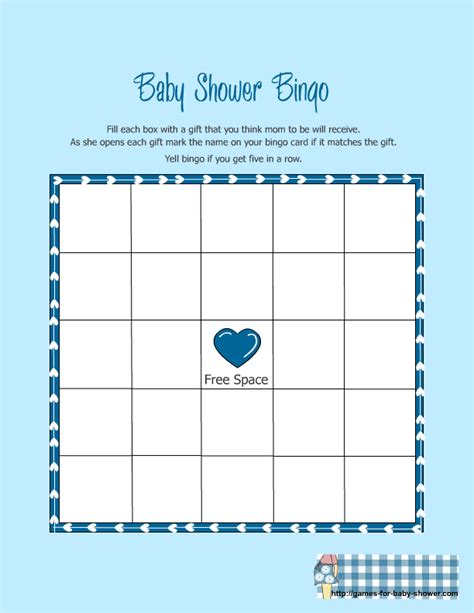 baby shower bingo template free images