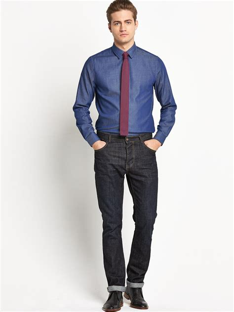 Set Kemeja Denim mens shirt and tie fashion at cheapest price next day uk delivery