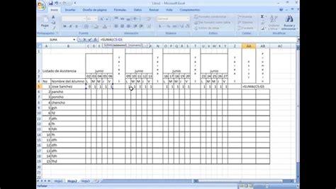 como hacer un registro auxiliar de asistencia en excel formato de asistencia en excel youtube