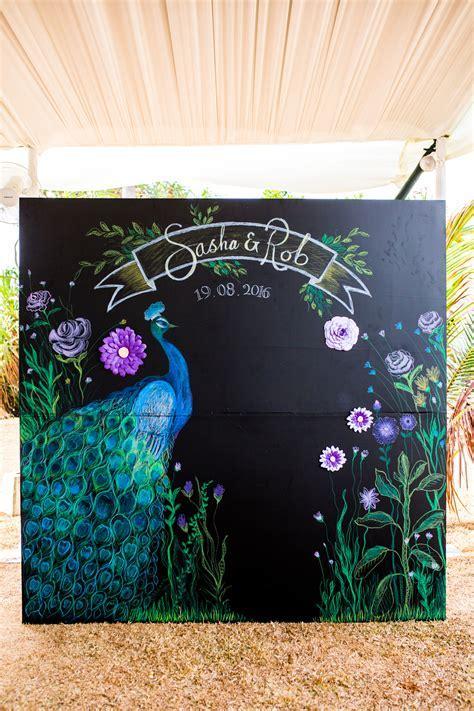 Peacock theme photo booth backdrop   Peacock & Royal Blue