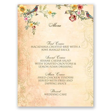 menu cards for wedding reception vintage birds menu card invitations by
