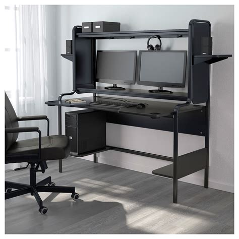 workstation desk ikea fredde workstation black 185x146x74 cm ikea