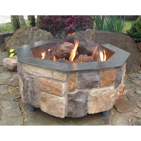 outdoor propane fire pit firescapes smooth ledge octagonal natural gas fire pit