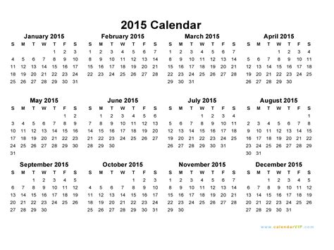 calendar 2015 only printable yearly new calendar