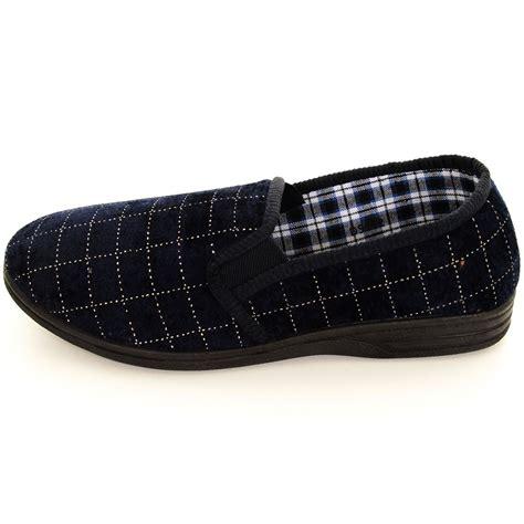 luxury house shoes boys men velour velvet check warm slip on luxury house shoes slippers