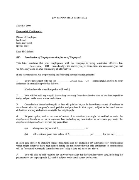 canada employee termination letter for cause forms
