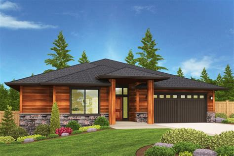 modern prarie ranch house plan with covered patio