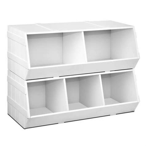 box stackable storage rack unit bookshelf white