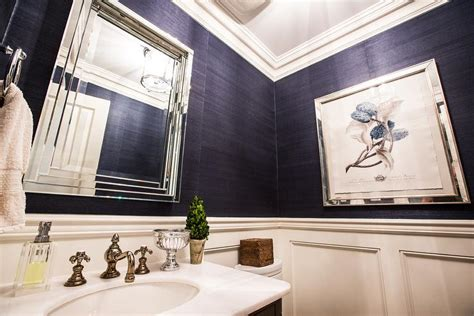 Navy Blue Bedroom Furniture navy blue grasscloth in contemporary bathroom