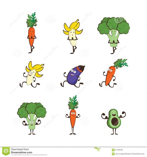 vegetables esports set of fruits and vegetables doing sport avocado carrot
