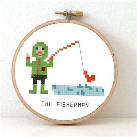 pattern maker jobs in germany fisherman cross stitch pattern make a nice gift for a