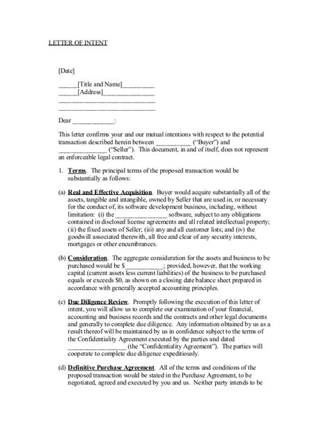 Letter Of Intent Sle Letter Of Intent To Purchase Business Template Free Printable Documents