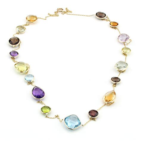 handmade 14k gold station necklace with gemstones by the