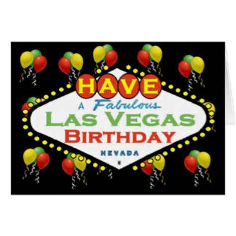 Las Vegas Birthday Card Las Vegas Birthday Cards Zazzle