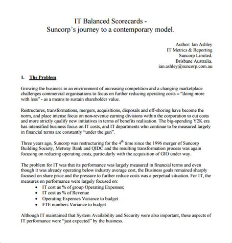 balanced scorecard template word balanced scorecard template 13 free word excel pdf