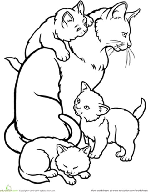 Color The Mommy Cat And Kittens Worksheet Education Com Baby Kittens Coloring Pages