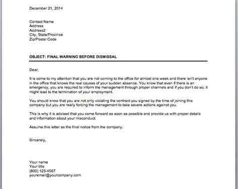 Explanation Letter Not Wearing Warning Notice For Employees Business Tips
