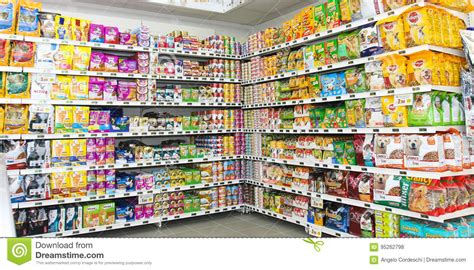 pet food store shelving shelf unit editorial stock photo
