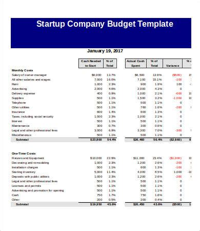 Start Up Budget Template Company Budget Template 5 Free Excel Pdf Documents