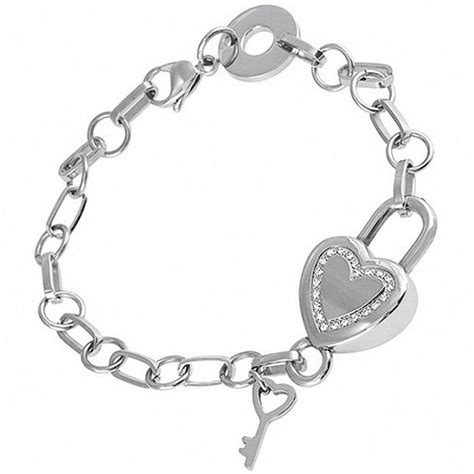 accent and key charm bracelet in stainless