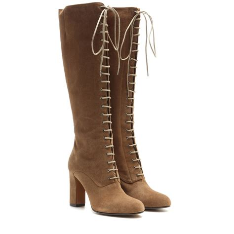 Lace Up Boots etro suede lace up knee high boots in brown lyst