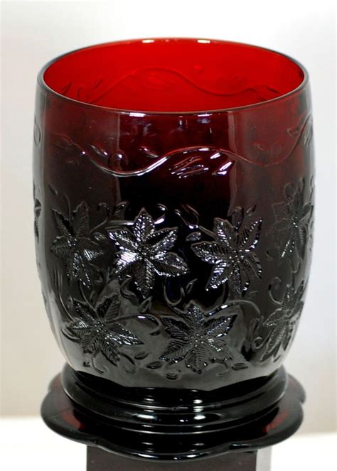Large Candle Vase Princess House Large Ruby Red Poinsetta Embossed Vase
