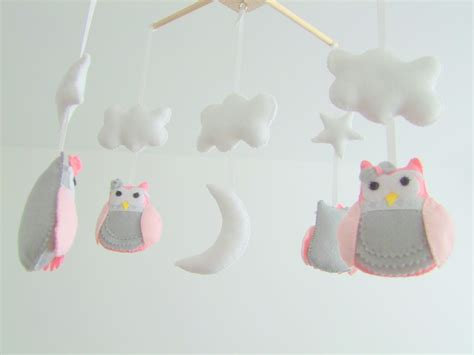 Handmade Cot Mobile - personalized handmade baby crib mobile felt owl pink