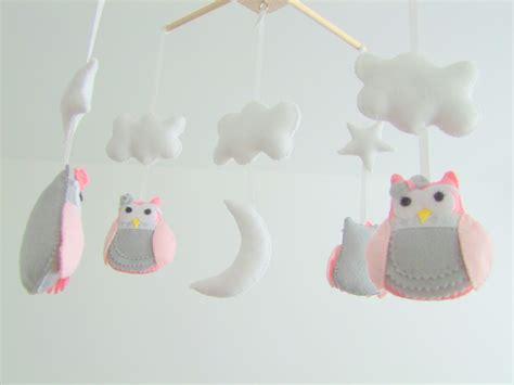 Handmade Nursery Mobile - personalized handmade baby crib mobile felt owl pink