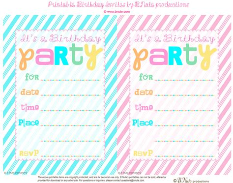 printable birthday invitations bnute productions free printable striped birthday party