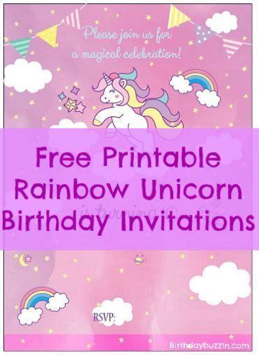 printable rainbow unicorn birthday invitations