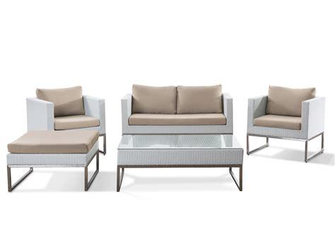 tisch sofa gartenm 246 bel set weiss edelstahl und rattan tisch