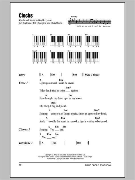 coldplay clocks chords clocks sheet music by coldplay lyrics piano chords 87359