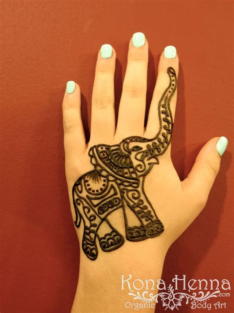 elephant henna tattoo on hand kona henna studio elephant henna by kona henna
