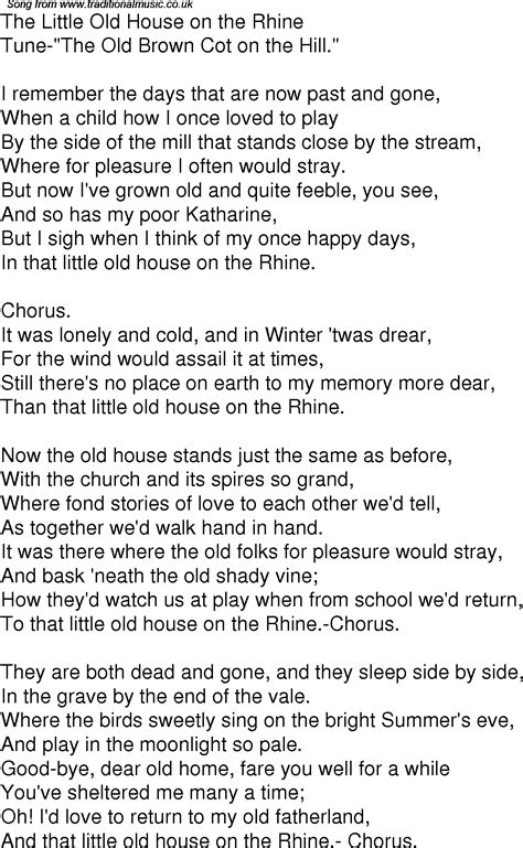 little house lyrics old time song lyrics for 01 the little old house on the rhine