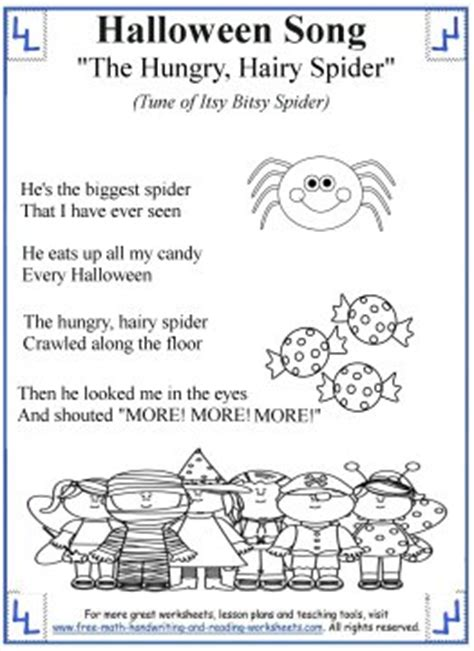 printable songs for toddlers halloween songs for kids printable lyrics with coloring