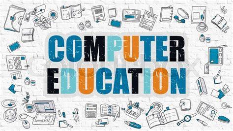4 designer illustration style education computer education concept computer education drawn on