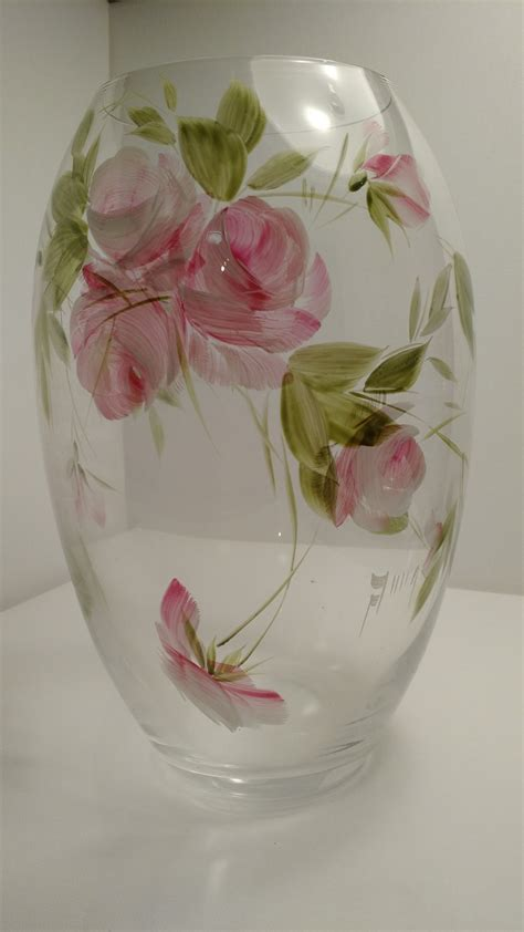 Flowers Inside Glass Vase by Glass Vase With Painted Flowers Narspi