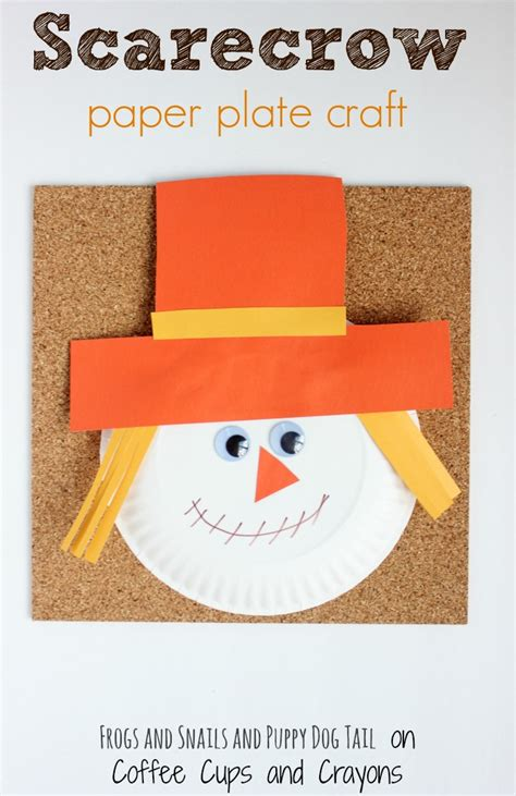 Paper Craft Classes - scarecrow paper plate craft coffee cups and crayons