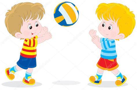 imagenes de niños jugando volibol ni 241 os jugando voleibol vector de stock 37619003