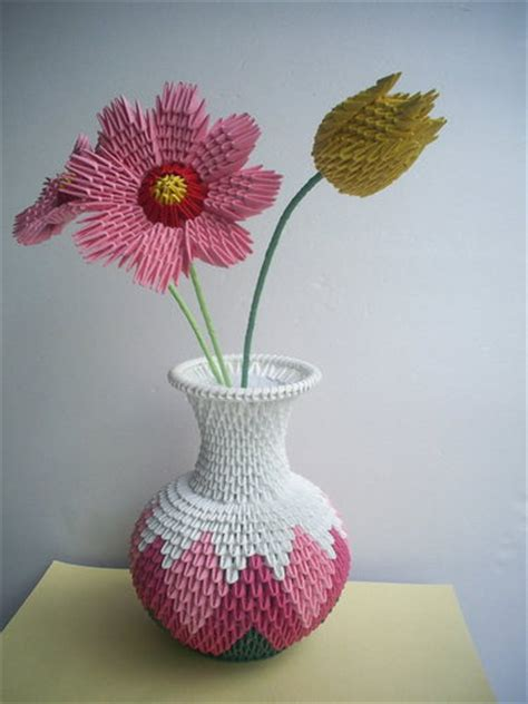 tutorial origami 3d jarron 3d origami 3d origami round vase with flowers 225x300 3d