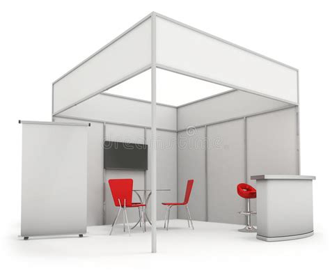 booth design illustrator trade exhibition stand and blank roll banner 3d render