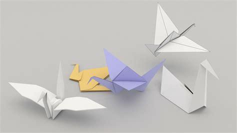 origami birds 3d model fbx cgtrader