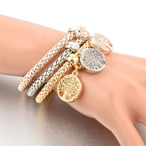 Rhinestones Gold Plated Tree Of Life Charm Bracelets Charm Bracelet Images