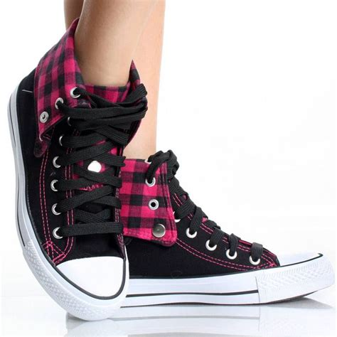 womens high top sneakers canvas skate shoes pink plaid