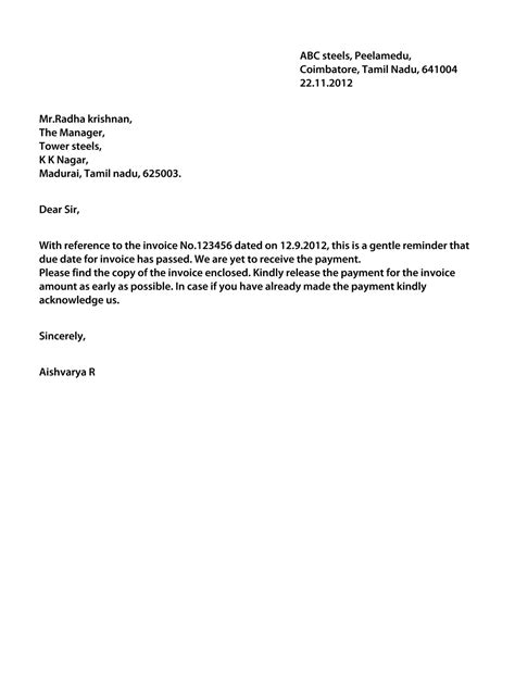 Official Letter Asking For Payment Payment Letter Format Best Template Collection