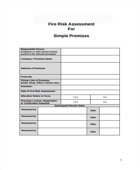 fire risk assessment form samples  sample  format