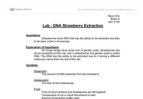 strawberry dna extraction lab schoolworkhelper