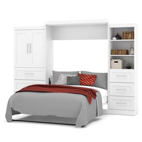 bestar wall bed bestar pur queen wall bed with storage in white 26889 17