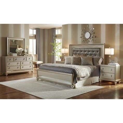 bedroom furniture chagne 6 cal king bedroom set