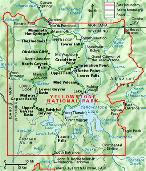map of united states showing yellowstone national park geography 5 project yellowstone national park